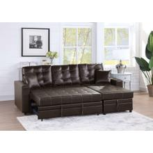 Lorene 2pc Sectional Sofa Set, Espresso Faux Leather