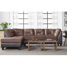2550 2 Pc. Sectional in Chocolate/Walnut with Left Facing Chaise/Right Facing Sofa