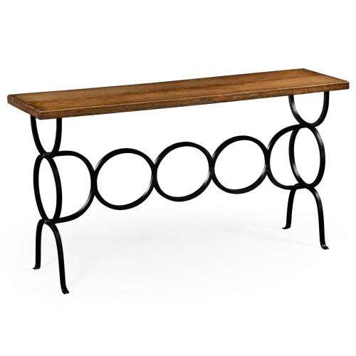 Country living style console with wrought iron base