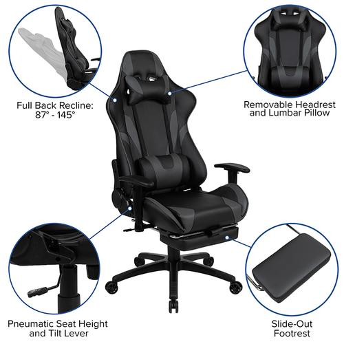 Gallery - Black Gaming Desk and Gray Footrest Reclining Gaming Chair Set with Cup Holder, Headphone Hook & 2 Wire Management Holes
