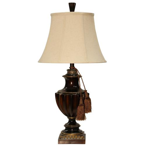 L310290  Sienna Bronze Traditional Table Lamp with Accent Tassels and Softback Bell Shade