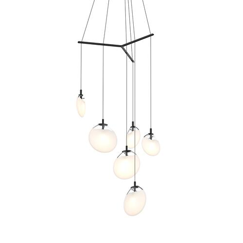 Sonneman - A Way of Light - Cantina LED Pendant [Size=6-Light Tri-Spreader, Color/Finish=Satin Black w/Poured White Glass]
