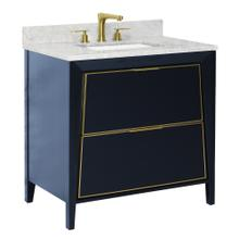 View Product - Gloss White Satin Brass CANTO Metal Trim 36-in Single-Basin Vanity with Carrara Stone Top