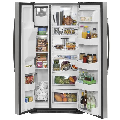GE Appliances Canada - GE 23.2 Cu. Ft. Side-By-Side Refrigerator Stainless Steel - GSS23GSKSS