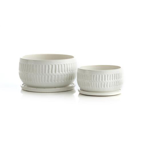 White Picket Bowls w/ attached saucer, Set 2