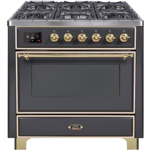 Majestic II 36 Inch Dual Fuel Natural Gas Freestanding Range in Matte Graphite with Brass Trim