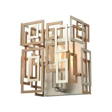 Gridlock 1-Light Sconce in Matte Gold and Aged Silver