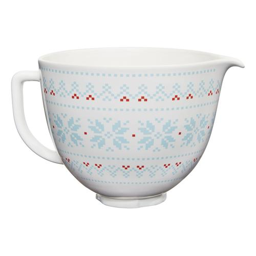 5 Quart Patterned Ceramic Bowl - Holiday sweater cross stitch - Other