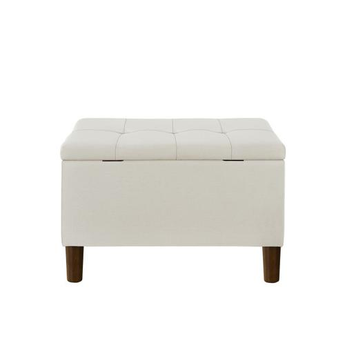 Accentrics Home - 29 Inch Hinged Top Storage Bench w/ Grid-Tufted Seat in Cream