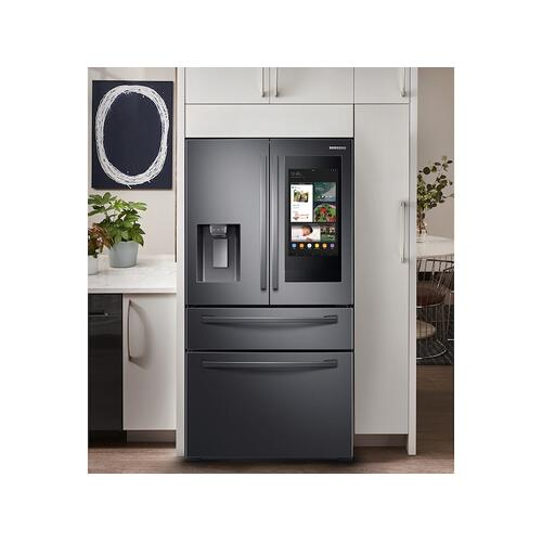 "28 cu. ft. 4-Door French Door Refrigerator with 21.5"" Touch Screen Family Hub™ in Black Stainless Steel"