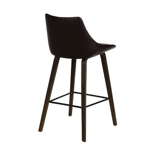 "Armen Living - Dani 26"" Brown Faux Leather Barstool in Walnut Glazed Finish"