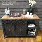 Travertine Bathroom Vanity With Oval Hammer Copper Product Image