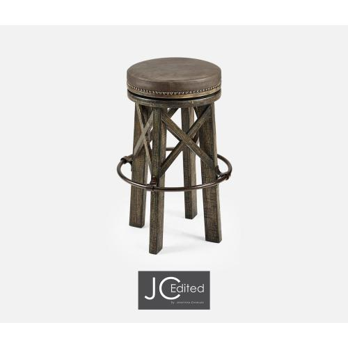 Country Style Dark Driftwood & Iron Bar Stool with Haven Leather