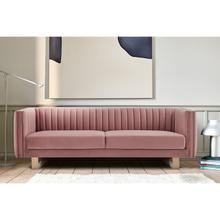 """See Details - Delilah 86"""" Blush Velvet Square Arm Sofa"""