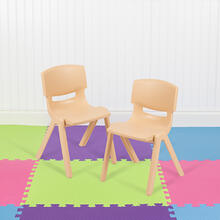"2 Pack Natural Plastic Stackable School Chair with 12"" Seat Height"
