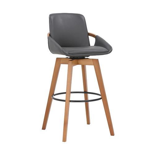"""Baylor 30"""" Bar Height Swivel Barstool with Walnut Finish and Gray Faux Leather"""