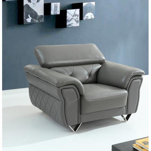 Divani Casa Perry Modern Grey Leather Sofa Set