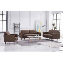 See Details - 8123 3PC BROWN Linen Stationary Basic Living Room SET