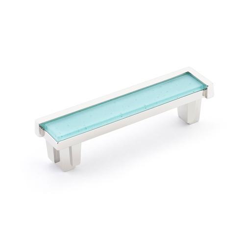 "Tallmadge, Pull, 4"" cc, Polished Nickel, Turquoise Glass"