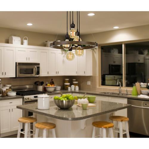 Cal Lighting & Accessories - 60W X 5 Martos Metal/Wood Chandelier. (Edison Bulbs included)
