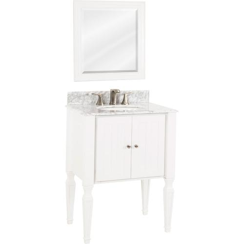 """28"""" vanity with White finish, elegant tapered legs, and clean lines with preassembled top and bowl."""
