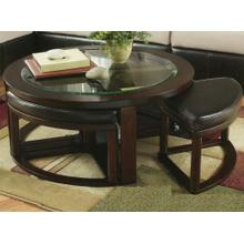 View Product - Solid Wood Glass Top Coffee Table w/ Stools
