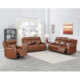 Natalia Coach 3-Piece Dual-Power Leather Motion Set (Sofa, Loveseat & Chair)