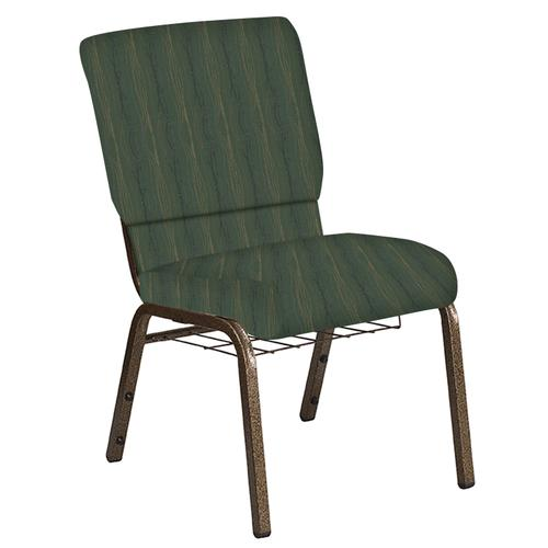 Flash Furniture - 18.5''W Church Chair in Mystery Clover Fabric with Book Rack - Gold Vein Frame