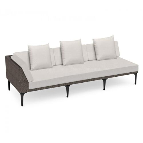 """98"""" Outdoor Dark Grey Rattan 3 Seat L-Shaped Right Sofa Sectional, Upholstered in COM"""