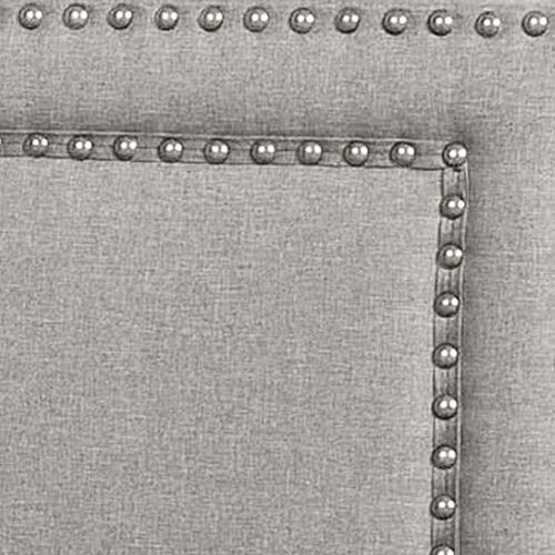 Upholstered Queen Bed with Nailhead Trim in Glacier Gray