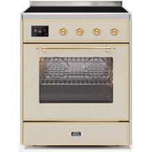Majestic II 30 Inch Electric Freestanding Range in Antique White with Brass Trim