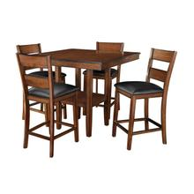 Pendwood Counter Height Table and Four Chairs Set, Dark Cherry Brown