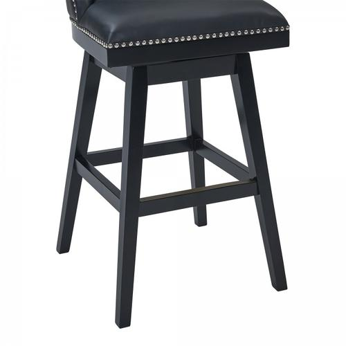 """Armen Living Journey 30"""" Bar Height Barstool in Black Wood Finish and Black Faux Leather"""