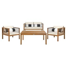 Alda 4-pc Outdoor Set With Accent Pillows - Natural / Beige / Black Piping