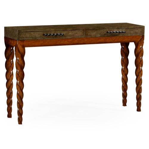 Walnut rectangular console with barleytwist legs