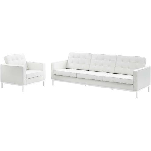 Loft 2 Piece Leather Sofa and Armchair Set in Cream White