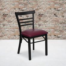 See Details - HERCULES Series Black Three-Slat Ladder Back Metal Restaurant Chair - Burgundy Vinyl Seat