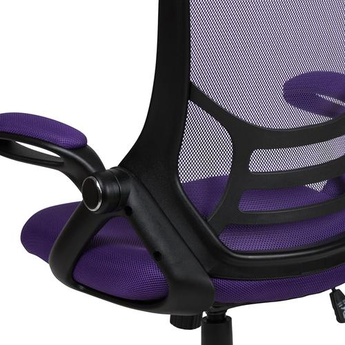 Flash Furniture - High Back Purple Mesh Ergonomic Swivel Office Chair with Black Frame and Flip-up Arms