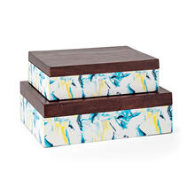 SG Wood and Enamel Boxes - Set of 2