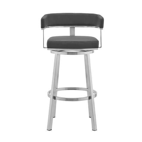 """Lorin 30"""" Gray Faux Leather and Brushed Stainless Steel Swivel Bar Stool"""