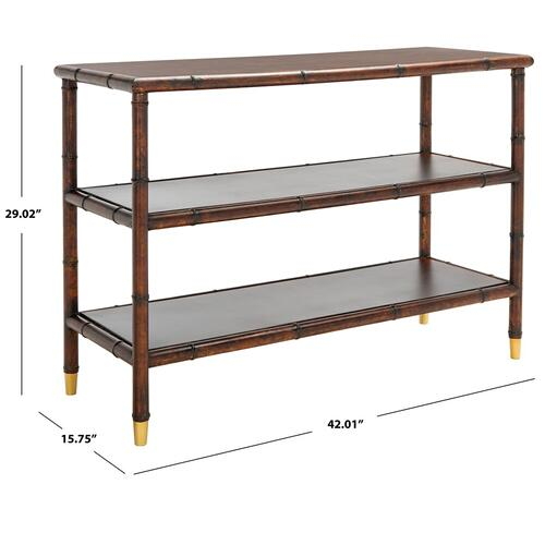 Safavieh - Tudor 2 Shelf Console Table - Dark Brown / Gold