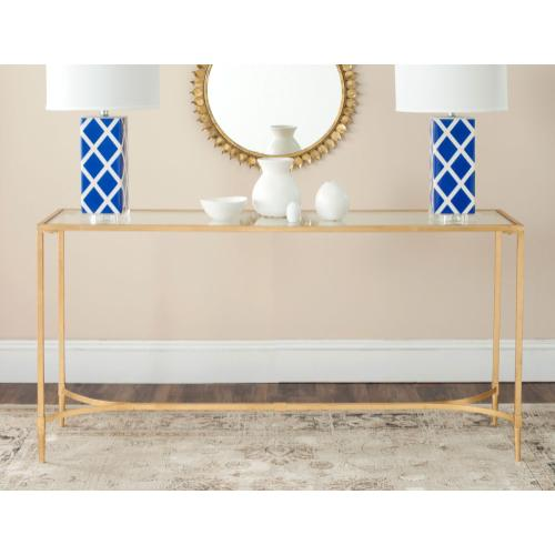 Antwan Console - Gold / Tempered Glass Top