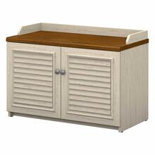 See Details - Shoe Storage Bench, Antique White/Tea Maple