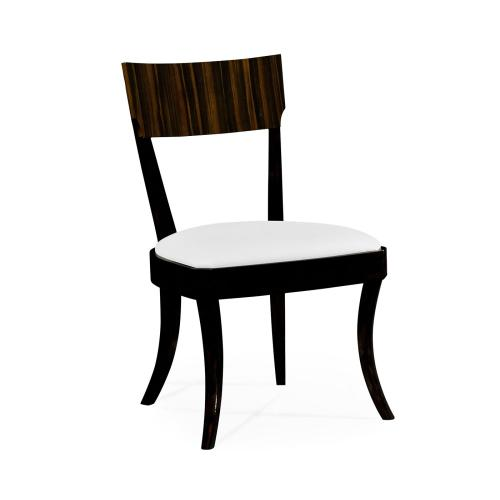 Art Deco Macassar Ebony High Lustre Dining Side Chair, Upholstered in COM