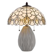 60W x 2 Tiffany table lamp with pull chain switch and resin lamp body
