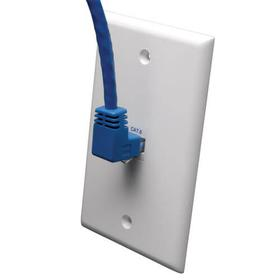 Up-Angle Cat6 Gigabit Molded UTP Ethernet Cable (RJ45 Right-Angle Up M to RJ45 M), Blue, 5 ft.