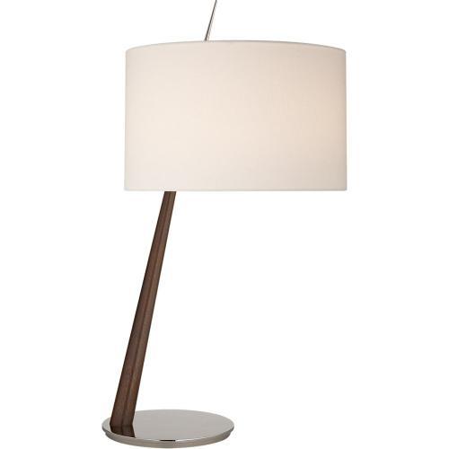 Visual Comfort BBL3090DW/PN-L Barbara Barry Stylus 33 inch 75 watt Dark Walnut Table Lamp Portable Light in Polished Nickel, Large Angled