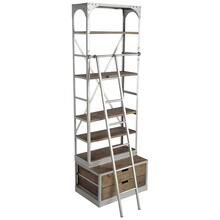 Brodie III 32L x 22W x 94H Medium Brown Wood Silver Accent Four Shelf Shelving Unit