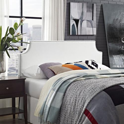 Laura Full Upholstered Vinyl Headboard in White