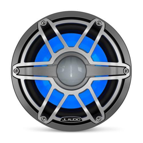 JL Audio - 10-inch (250 mm) Marine Subwoofer Driver with Transflective™ LED Lighting, Gunmetal Trim Ring, Titanium Sport Grille, 4